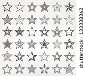 Pentagonal five point star collection of thirty six emblem icon design elements, eps10 vector template set
