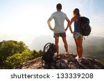 hikers with backpacks relaxing... | Shutterstock . vector #133339208
