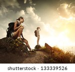 two young tourists with... | Shutterstock . vector #133339526