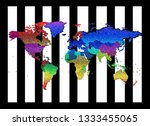 artistic colorful world map... | Shutterstock . vector #1333455065