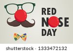 Red Nose Day Vector Card. ...