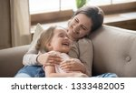 happy cheerful young mom... | Shutterstock . vector #1333482005