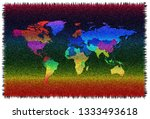 colorful world map with borders ... | Shutterstock . vector #1333493618