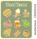 set of food icons in retro... | Shutterstock .eps vector #133352216