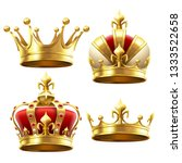 realistic gold crown. crowning... | Shutterstock . vector #1333522658