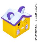 yellow house with ears on a...   Shutterstock . vector #1333533698
