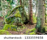big mossy rock in a forest ... | Shutterstock . vector #1333559858