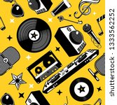 retro music seamless pattern... | Shutterstock .eps vector #1333562252