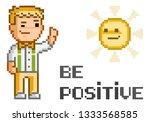 be positive. vector pixel art... | Shutterstock .eps vector #1333568585
