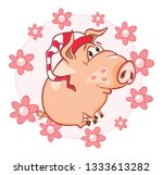 illustration of a cute pig.... | Shutterstock . vector #1333613282