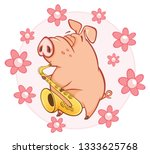 illustration of a cute pig.... | Shutterstock . vector #1333625768