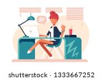 cartoon girl sitting at... | Shutterstock .eps vector #1333667252