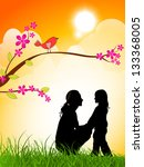 silhouette of a mother and her... | Shutterstock .eps vector #133368005