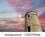 Old Rhodes Windmills  Greece