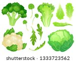 cartoon cabbages. fresh lettuce ... | Shutterstock .eps vector #1333723562