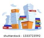 unorganized paperwork. paper... | Shutterstock .eps vector #1333723592