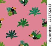 summer wildlife birds print.... | Shutterstock .eps vector #1333732688