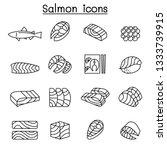 fresh salmon fish icon set in... | Shutterstock .eps vector #1333739915