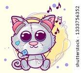 cute kitten cartoon with...   Shutterstock .eps vector #1333756352