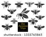 honey bee bumblebees wasps set... | Shutterstock .eps vector #1333765865
