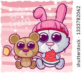 cute cartoon kitten and bear...   Shutterstock .eps vector #1333782062