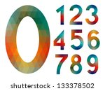 number set from colorful mosaic ... | Shutterstock .eps vector #133378502