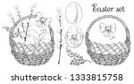 easter eggs  mimosa flowers and ... | Shutterstock .eps vector #1333815758