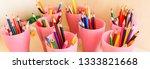 color pencils in glass on desk...   Shutterstock . vector #1333821668