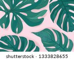 tropcal palm leaves beautiful... | Shutterstock . vector #1333828655