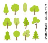 flat set of different trees in... | Shutterstock .eps vector #1333874975