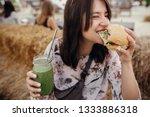 stylish hipster girl in... | Shutterstock . vector #1333886318
