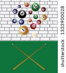 billiard cue and pool balls.... | Shutterstock .eps vector #1333900028