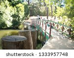 green and red bridge on a... | Shutterstock . vector #1333957748