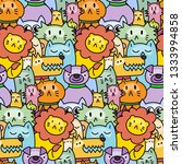 seamless pattern with cute... | Shutterstock . vector #1333994858