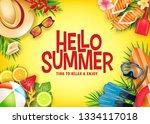hello summer realistic vector...   Shutterstock .eps vector #1334117018