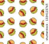 burger. cartoon print. seamless ... | Shutterstock .eps vector #1334123765