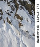 Aerial View Of Snow Avalanche...