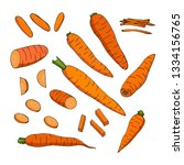 set with carrots and carrot... | Shutterstock .eps vector #1334156765