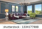 interior of the living room. 3d ... | Shutterstock . vector #1334177888