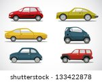 vector retro car icon set