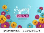 spring sale banner with paper...   Shutterstock .eps vector #1334269175