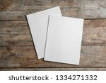 brochures with blank cover on... | Shutterstock . vector #1334271332