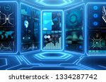 abstract data room with... | Shutterstock . vector #1334287742