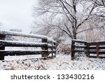 Snow Covered Paddock On An...