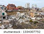 landslide caused by rains of... | Shutterstock . vector #1334307752