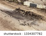 landslide caused by rains of... | Shutterstock . vector #1334307782