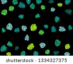 teal tropical jungle leaves... | Shutterstock .eps vector #1334327375