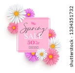 spring sale banner with white ... | Shutterstock .eps vector #1334351732
