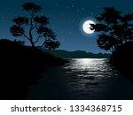 moonlight in dark river under... | Shutterstock .eps vector #1334368715