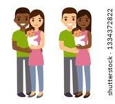 interracial couple with newborn ... | Shutterstock . vector #1334372822